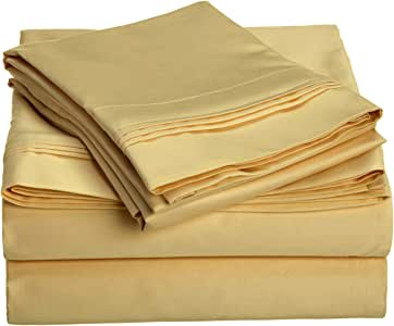 1000 Thread Count 100% Premium Long-Staple Combed Cotton, Queen Bed Sheet Set, Single Ply, Solid, Gold