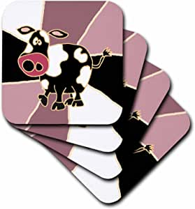 All Smiles Art Animals - Funny Cow Art - Coasters - set of 8 Coasters - Soft - cst_195127_2