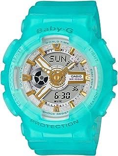 Casio 卡西欧 Baby-G BA110SC-2A 海洋玻璃色系列女式模拟数字水蓝色金色金属表盘手表