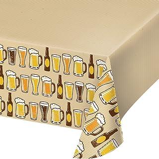 "Creative Converting 边印图案塑料桌布,137.16 x 259.08 厘米,啤* Cheers/Beers 54 x 102"" 324453"