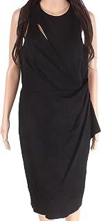 Vera Wang 女士无袖弹力鸡尾*连衣裙带侧褶边