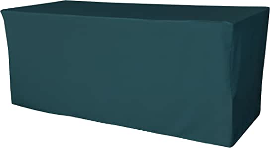 LA Linen Polyester Poplin Fitted tablecloth for 6-Foot Table, Dark Teal
