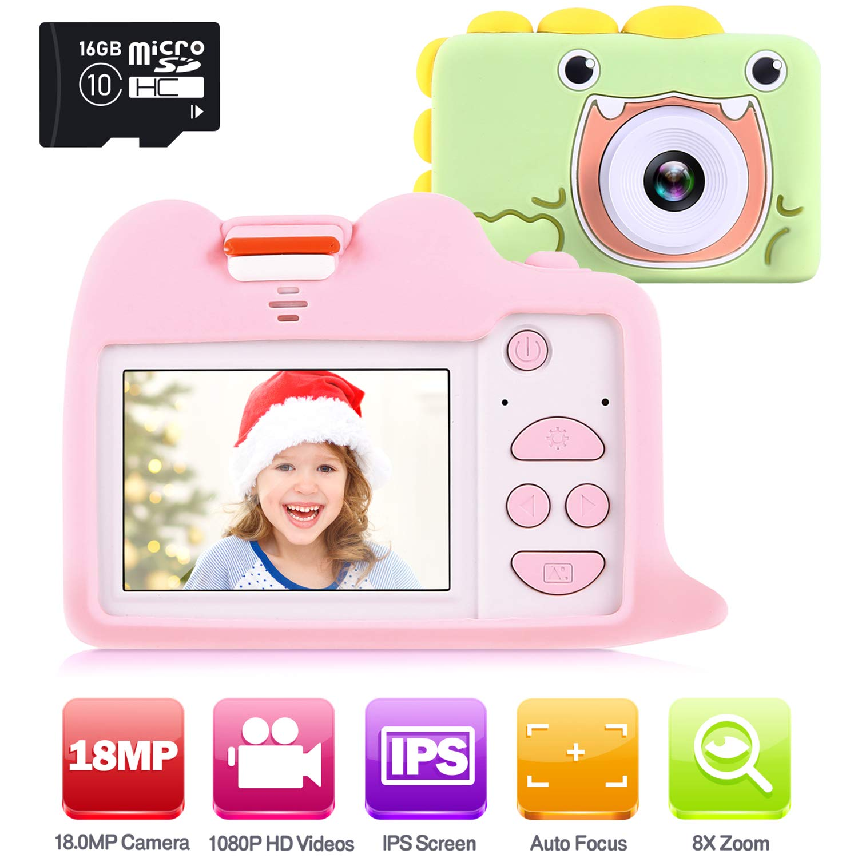 女孩相机玩具,Ohuhu 儿童相机带 16GB SD 卡,1080P 高清 18.0MP 数码相机录音机,适合儿童圣诞生日礼物,2 英寸屏幕迷你相机带 2 个硅胶保护套 适用于 3+