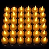Vont 24 片装无焰 LED 茶灯蜡烛,逼真明亮自然闪烁,电池供电蜡烛,无香味蓝灯