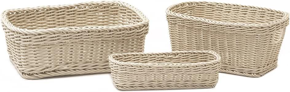 Seville 经典编织储物篮套装 3 件套,象牙色 象牙色 WEB365