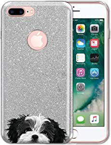 FINCIBO 手机壳适用于苹果 iPhone 7 Plus / 8 Plus,闪亮的银色闪光闪光亮光 TPU 硅胶保护套适用于 iPhone 7 Plus/ 8 Plus 5.5 英寸 - 小狗 Black White Shih Tzu Dog