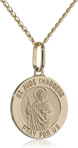 "14k Yellow Gold Men's Saint Jude Thaddeus Medal, 18"""