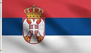 DMSE 塞尔维亚共和国、阿塞拜疆、卢森堡、卢森堡、卢森堡、卢森堡、政治、卢森堡、旗帜 91.44 cm x 152.4 cm 脚 * 涤纶 100D 旗帜 防紫外线 3' X 5' Ft Foot 3' X 5' Ft Foot DMSE-F0198-Serbia