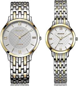 MESHOR 名梭 瑞士进口石英表 精钢表带 罗马时刻 时尚情侣表-介金色-5007M/L.36.126