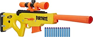 NERF Fortnite BASR-L Bolt Action Clip Fed Blaster -- 包括可拆卸镜子、6 发夹和 12 个官方 Elite 软头弹