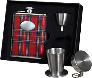 """Visol """"Scrooge"""" Plaid Stainless Steel Stellar Flask Gift Set, 6-Ounce, Red"""