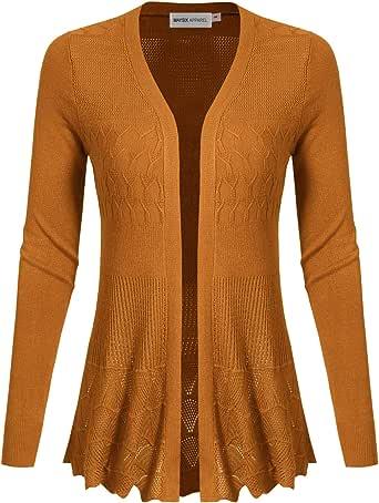 MAYSIX APPAREL 长袖轻质钩针针织毛衣前开襟开衫 女式 (S-2XL) Msg5-honey Small (US SMALL)