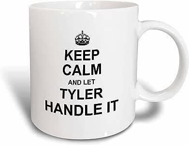 3dRose 马克杯_233412_6 Keep Calm and Let Tyler Handle it - 趣味个人名字 - 双色蓝色马克杯,311.84 克