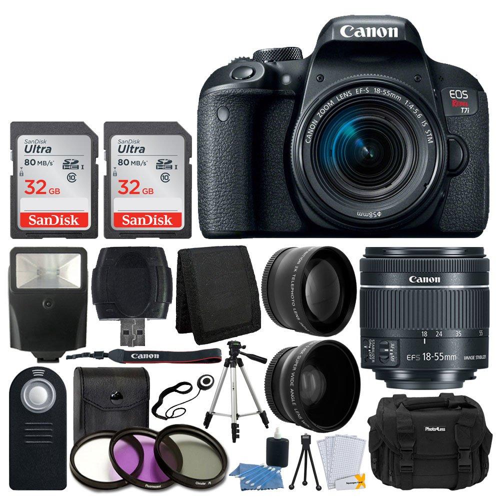 EF-S 18〜55ミリメートルF / 4から5.6 IS STMレンズ+ 58ミリメートル広角レンズ、望遠レンズ+ + 2X + 64ギガバイトSDHCフラッシュメモリカード+ UVフィルター三脚キット+キヤノンEOS反乱T7iデジタル一眼レフカメラ - フルキット