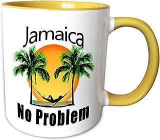 3dRose MacDonald Creative Studios - Jamaica - 热带牙买加无问题加勒比海滩设计。 - 马克杯 黄色/白色 11oz mug_291878_8