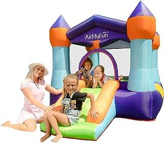 AirMyFun 充气跳城堡 室内便携式弹跳屋 带空气吹气 带迷你滑梯的弹跳区域 儿童玩乐时光