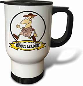 dooni Designs worlds greatest 漫画 – 趣味 worlds greatest scout LEADER 卡通 – 旅行杯 白色 14 oz