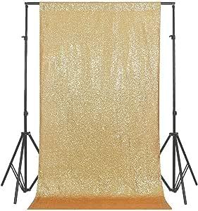 GFCC 闪亮玫瑰金闪耀亮片迷人背景婚礼派对装饰品 - 121.92 cm x 212.52 cm 金色 5ftx9ft 0730 gold 5x9ft