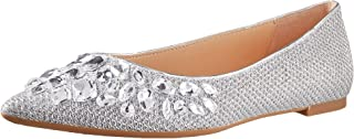 Jewel Badgley Mischka 女士 ULANNI 鞋,银色面料,38 码