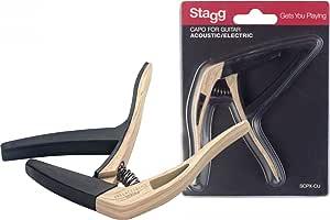 Stagg SCPX-CU CLWOOD 弯曲触发卡普 适用于原声或电吉他 - 浅木