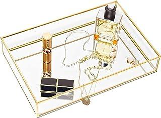 CHICHIC 金色镜面托盘珠宝收纳盒梳妆台托盘珠宝托盘香水托盘梳妆台托盘装饰托盘,浴室卧室化妆品存储的玻璃金属化妆托盘,11.8 x 7.9 英寸