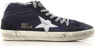 Golden Goose 女式运动鞋中星靛蓝麂皮绒裂纹银色星星 G32WS634.I2(尺寸: