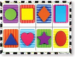 Melissa & Doug 形状块状拼图(学龄前,块状木制组件,全彩色图片,8件)
