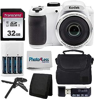 Kodak PIXPRO AZ252 Astro Zoom 16MP 数码相机 + 点阵相机套 + Transcend 32GB SD 存储卡 + 充电电池和充电器+ USB 读卡器 + 桌面三脚架 + 配件AZ252-WHK2 白色