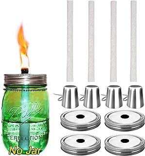 4 件装玻璃梅森罐 Tiki 台手电筒,驱蚊香茅油手电筒,露台花园派对婚礼装饰手电筒灯 银色 4 Pack Glass Mason Jar Torch Kits(No Jar)
