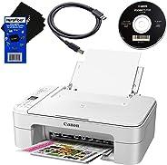 Canon 佳能 PIXMA TS3120 无线一体紧凑型喷墨打印机,家用打印,扫描,复印(白色)+ 墨盒 + USB 打印机电缆 + HeroFiber 超温和清洁布
