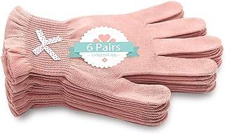 EvridWear 6 Pr/Pack *棉手套,带两个触摸屏手指,适用于 SPA、*、干手、护手、日间和夜间保湿,3 种尺寸羽毛或轻量 S/M