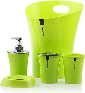 Varyag 塑料浴室套装肥皂盒、肥皂盒、牙刷架、玻璃杯和废料箱 绿色 CV6297