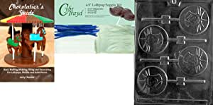 """Cybrtrayd """"Statue of Liberty Lolly"""" Chocolate Mold with Chocolatier's Bundle, Includes 25 Sticks, 25 Cello Bags, 25 Blue Twist Ties and Chocolatier's Guide"""