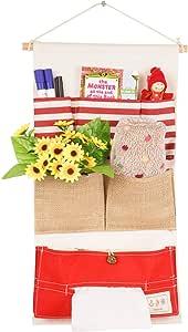 LINENLUX 门外收纳袋 壁橱 悬挂式储物袋 多层亚麻织物袋装饰. 6 Pockets,red,11x21in unknown