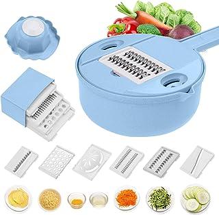12 合 1 蔬菜切片机 土豆削皮器 胡萝卜 洋葱刨碎机 带过滤 蔬菜切割器 厨房用具配件 用于烹饪准备 蓝色