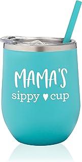 SassyCups Mama's Sippy Cup 酒杯 | 不锈钢无柄酒杯带盖和吸管适合新妈妈 | Mom to Be Cup | Mom to Be Mom | Mom to Be Mom | Mom Again(12 盎司,薄荷色)