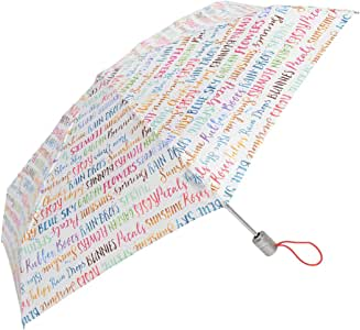 Totes Classics 3 节自动开合 43 英寸弧形开放式雨伞,白色带短款引言,
