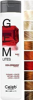 Celeb Luxury Gem Lites Colorwash 洗发水:红宝石色, 带色洗发水,10 种传统颜色,一次快洗防止褪色,清洗 + 颜色,不含硫酸盐,无残忍,天然