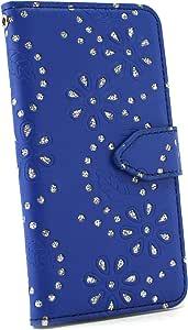 ホワイトナッツ ラメフラワー ケース 手帳型 蓝色 15_ HTC Desire EYE 4G M910X