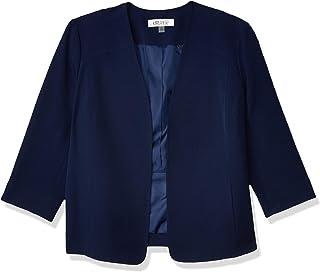 Kasper 女士弹力绉纱 V 领门襟夹克