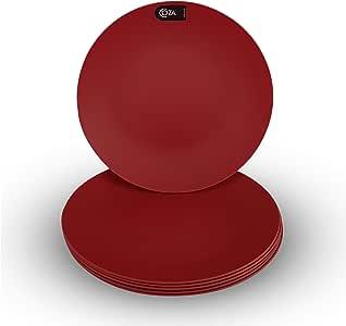 Coza 设计 - 牢固且可重复使用的塑料板套装 - 不含 BPA - 6 件套 粗体红