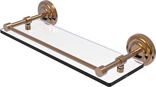 Allied Brass QN-1/16-GAL-BBR Que New 16-Inch Tempered Glass Shelf with Gallery Rail, Brushed Bronze