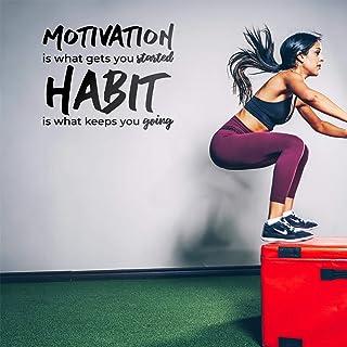 """乙烯基墙艺术贴花 - Motivation is What Gets You started - 58.42 厘米 x 71.12 厘米 - 健身房健身房、家庭、卧室、办公室、工作场所、公寓、客厅引言装饰 黑色 23"""" x 28"""" MOTIVATNGETSTARTD"""