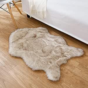 HYMYUS 柔软人造羊皮毛椅沙发垫小地毯 5.5 厘米厚蓬松客厅跑步毯适合儿童婴儿卧室家居装饰儿童婴儿地毯