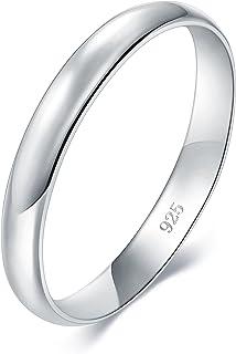 BORUO 925 纯银戒指,高抛光普通圆顶抗锈蚀舒适贴合婚戒 3 mm 戒指