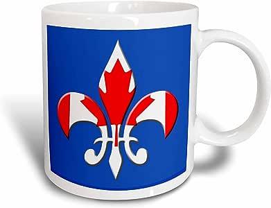 3dRose mug_33674_2 Large Fleur De Lis on Blue Background with Canadian Flag Overlay Ceramic Mug, 15-Ounce