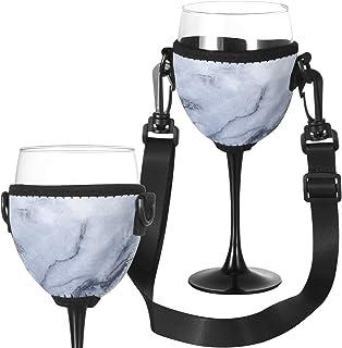 Beautyflier 酒杯隔热器/饮料架/氯丁橡胶套,配有可调节颈带,适合酒吧散步 大理石灰色
