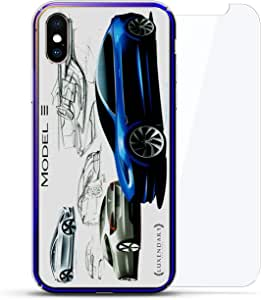 Luxendary 设计师保护玻璃套装手机壳 iPhoneLUX-IXCRM2B360-MODEL31 ALL THINGS ELON: MODEL 3 TESLA FRANZ VON HOLZHAUZEN SKETCH 蓝色(Dusk)