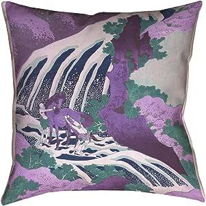"ArtVerse Katsushika Hokusai Horse and Waterfall 紫色 x 35.56 cm Pillow-Poly Twill 双面印花仅带隐藏拉链套 紫色 20"" x 20"" HOK062P2020E"