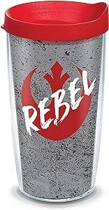 Tervis 1339107 星球大战反叛者不含 BPA 隔热旅行玻璃杯带包装盖,453.59 克,透明